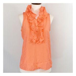 [j. crew] orange victoria silk ruffle tissue cami